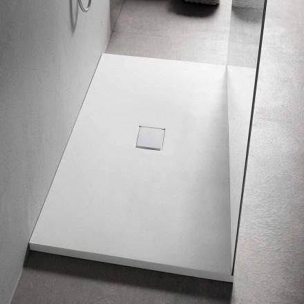 Prostokątny brodzik prysznicowy 160x70 cm w nowoczesnym stylu z żywicy białej - Estimo