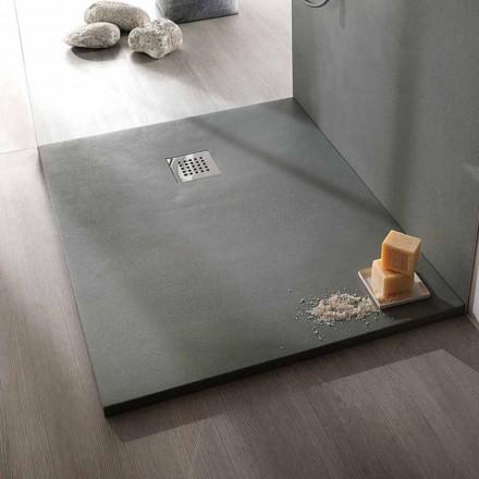 Nowoczesny brodzik prostokątny z efektem żywicy betonu 90x70 cm - Cupio