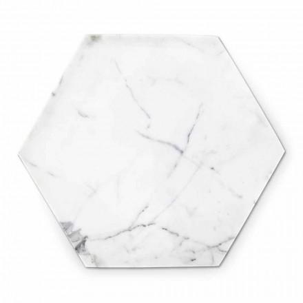 Sześciokątna płyta dekoracyjna z białego marmuru z Carrary Made in Italy - Sintia