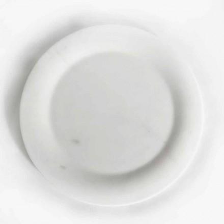 Płaski talerz z błyszczącego białego marmuru rzeźbiarskiego Made in Italy Design - Brandy