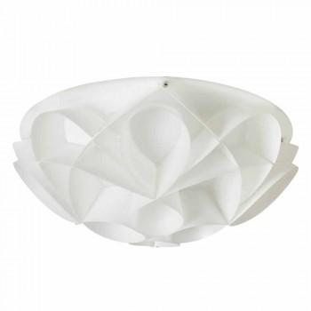 Lampa sufitowa 2 światła perłowy biały nowoczesny design, średn. 43cm, Lena