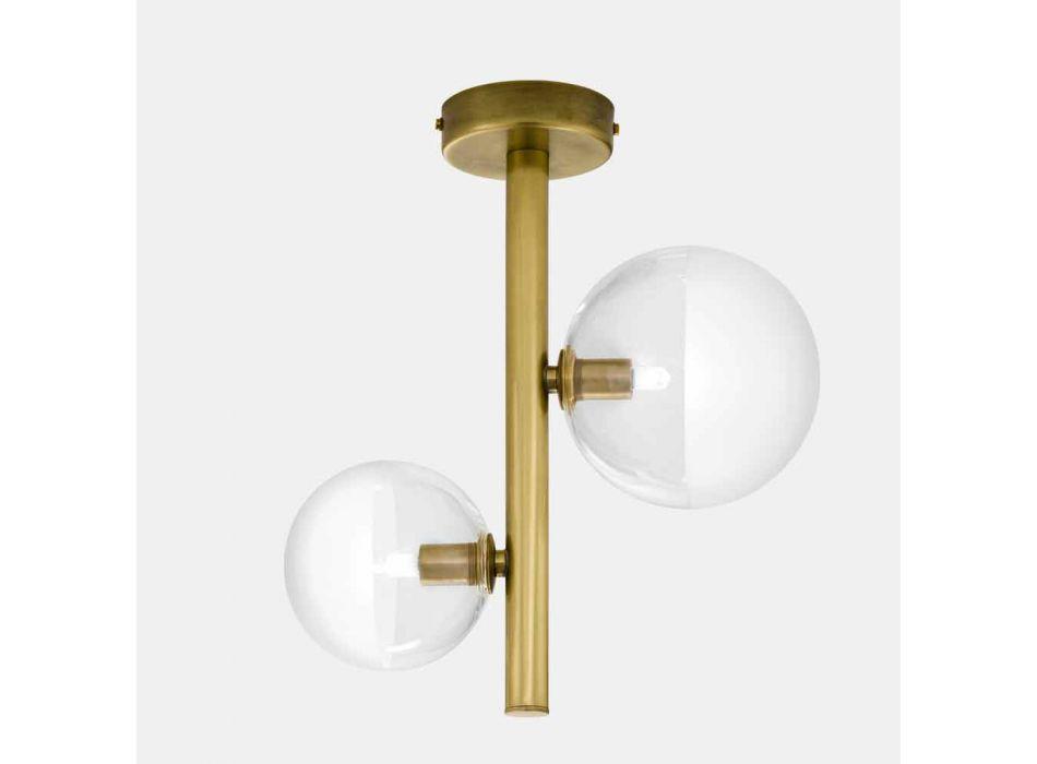 2-lampowa lampa sufitowa ze szkła i naturalnego mosiądzu Made in Italy - Molecola by Il Fanale