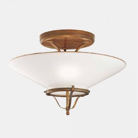 3-punktowa lampa sufitowa z mosiądzu i stożkowego szkła Murano - Country autorstwa Il Fanale