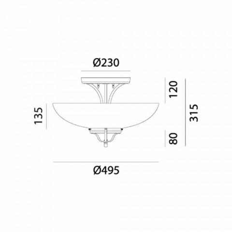 3-punktowa lampa sufitowa z mosiądzu i szkła Murano Semisfera - Country by Il Fanale