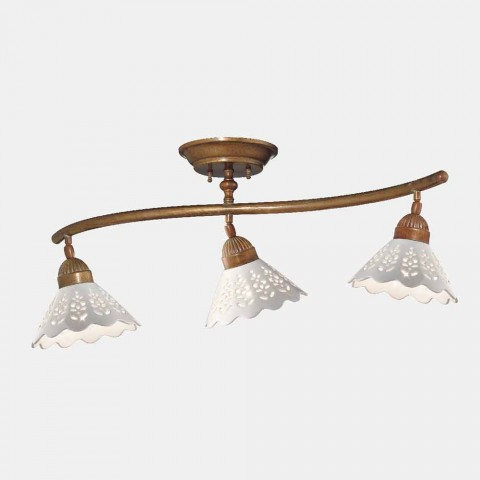 3-punktowa lampa sufitowa z mosiądzu i perforowanej ceramiki - Fiordipizzo firmy Il Fanale