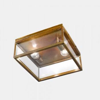 2-punktowa zewnętrzna lampa sufitowa z mosiądzu i szkła vintage - Framework firmy Il Fanale