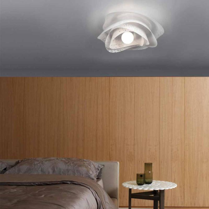 Nowoczesna lampa sufitowa z białym abażurem Corolla. 40 cm, Antalya