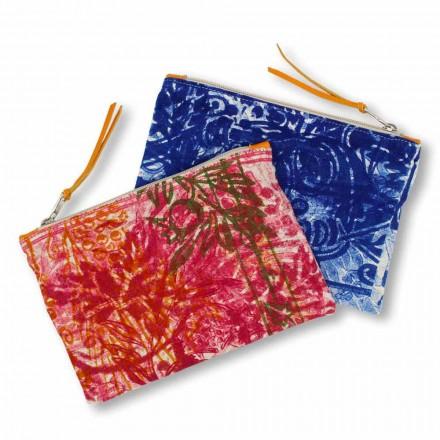 Jednoczęściowa bawełniana kopertówka z ręcznym nadrukiem, 2 sztuki - Viadurini by Marchi