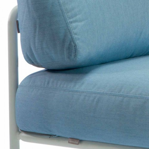 Centralny fotel modułowy do zastosowań zewnętrznych z metalu i tkaniny Made in Italy - Cola