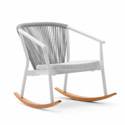 Fotel bujany na zewnątrz z litego drewna i tkaniny - Smart by Varaschin