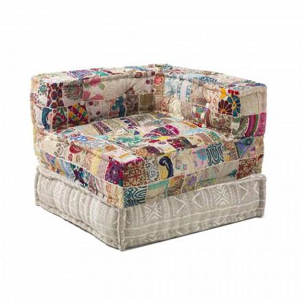Fotel szezlong o etnicznym designie z bawełnianej mozaiki, do salonu - włókno