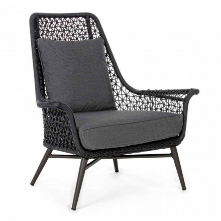 Fotel zewnętrzny o nowoczesnym designie wykonany z aluminium i tkaniny Homemotion - Nigerio