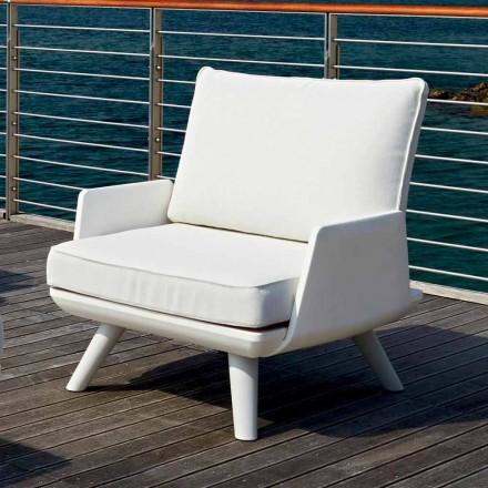 Tapicerowany fotel ogrodowy o białym i nowoczesnym designie - Samurai by Myyour