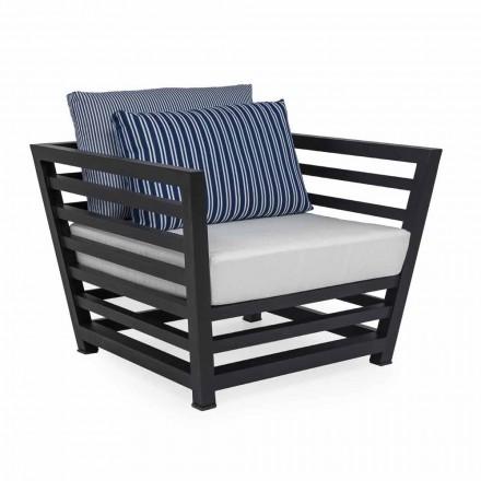 Fotel ogrodowy z białego lub czarnego aluminium i poduszek materiałowych - Cynthia