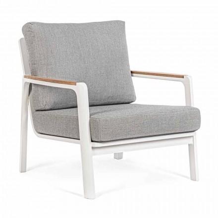 Fotel ogrodowy z aluminium, drewna tekowego i tkaniny, Homemotion, 2 sztuki - Cara