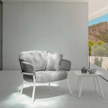 Fotel ogrodowy Moon Alu Talenti z lin, aluminium i tkaniny