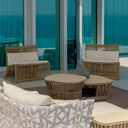 Fotel ogrodowy Cliff Talenti z liny i tkaniny, projekt Palomba