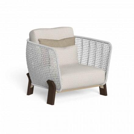 Fotel ogrodowy z liny, tkaniny i szlachetnego drewna - Argo od Talenti