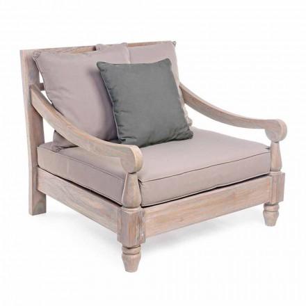 Homemotion - Fotel na zewnątrz z drewna teakowego w stylu rustykalnym Nusadua