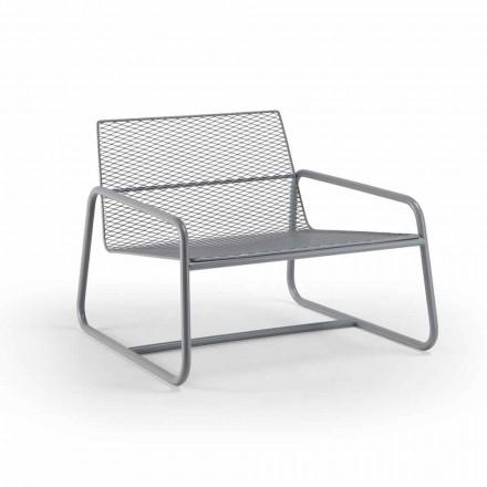 Fotel metalowy zewnętrzny z luksusową poduszką Made in Italy - Karol