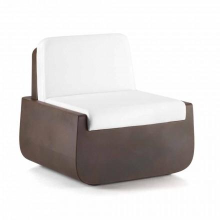 Fotel ogrodowy z polietylenu z poduszką z tkaniny Made in Italy - Belida