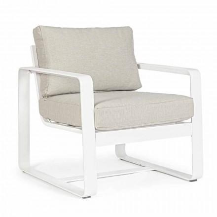 Fotel ogrodowy z tkaniny i aluminium malowanego na biało, 2 sztuki - Marianna