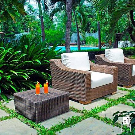 Fotel ogrodowy z polietylenu pleciony ręcznie Joe