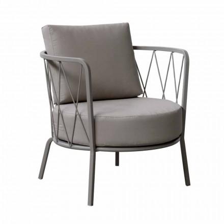 Nowoczesny fotel ogrodowy z malowanego metalu i tkaniny Made in Italy - Olma