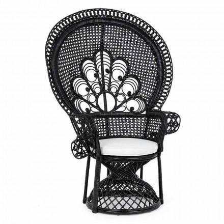 Luksusowy fotel ogrodowy na zewnątrz w czarnym rattanie - Serafino