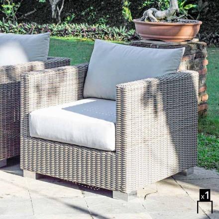 Fotel ogrodowy design z pleciony ręcznie, model Elsa design