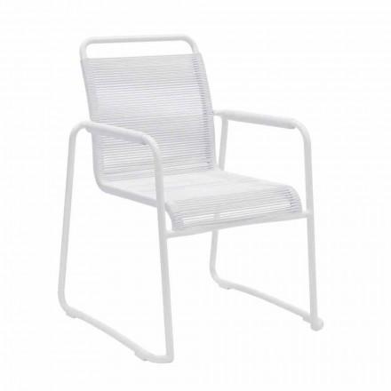 Krzesło ogrodowe w białym aluminiowym nowoczesnym designie do układania w stosy - Wisky