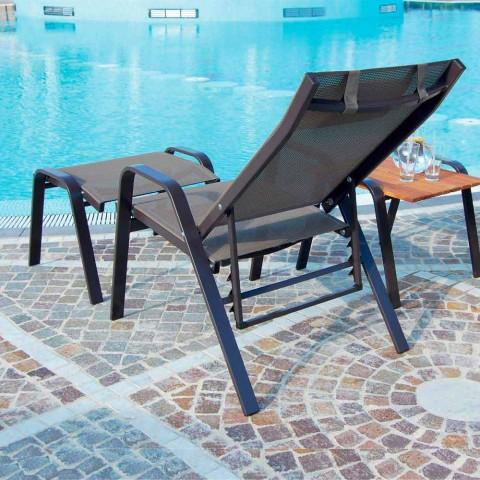 Aluminiowy fotel ogrodowy z podnóżkiem Made in Italy - Camillo