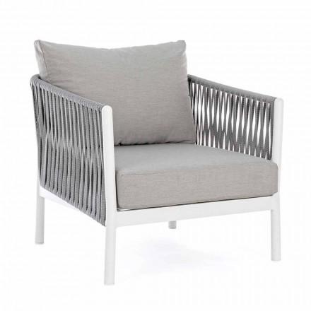 Fotel ogrodowy z aluminium, włókna syntetycznego i tkaniny Homemotion - Rubio