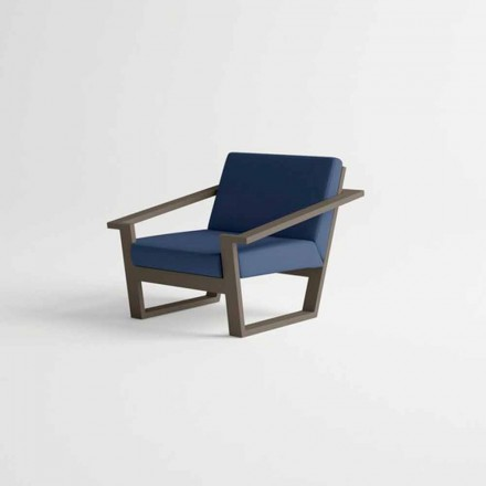 Krzesło ogrodowe w brązowej aluminiowej i niebieskiej poduszce z tkaniny - Louisiana2