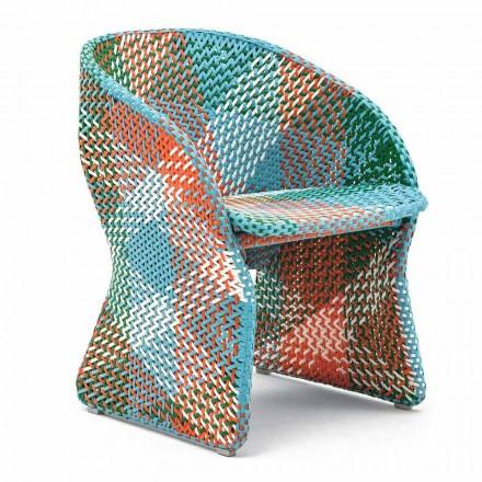 Fotel ogrodowy z kolorowego plecionego włókna syntetycznego - Maat firmy Varaschin