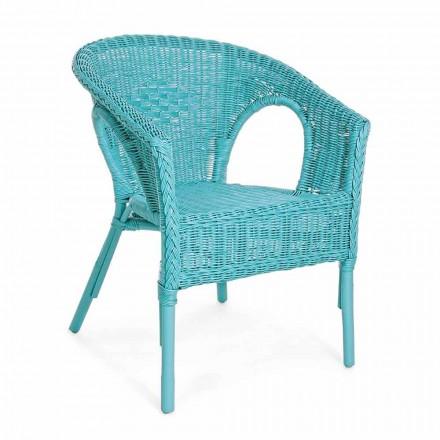 Designerski fotel ogrodowy z możliwością układania w stos z białego, niebieskiego lub zielonego rattanu - Favolizia