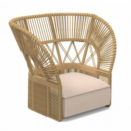 Nowoczesny fotel ogrodowy wyściełany liną i tkaniną - Cliff Decò Talenti