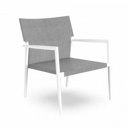 Nowoczesny fotel ogrodowy z aluminium i szarej tkaniny - Adam firmy Talenti