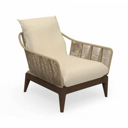 Nowoczesny fotel ogrodowy z drewna tekowego i tkaniny - Teak Cruise firmy Talenti