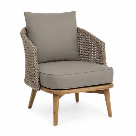 Fotel ogrodowy Tortora z aluminium, drewna i tkaniny Homemotion - Luana