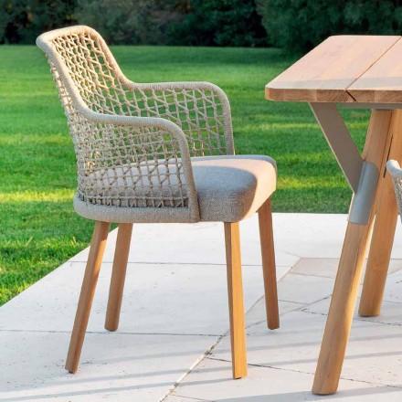 Nowoczesny fotel ogrodowy z litego drewna iroko, Emma od Varaschin