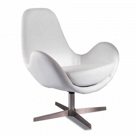 Tapicerowany i obrotowy fotel ze sztucznej skóry, nowoczesny design - Gajarda