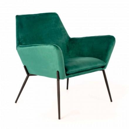 Nowoczesne krzesło wypoczynkowe w kolorze benzynowo-zielonym aksamitem i czarnym metalu - stonowane
