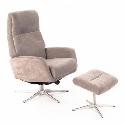 Fotel rozkładany z podnóżkiem tapicerowany aksamitem - Angelina
