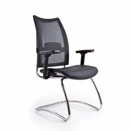 Krzesło biurowe z podłokietnikami i z oparciem z siatki, Overtime
