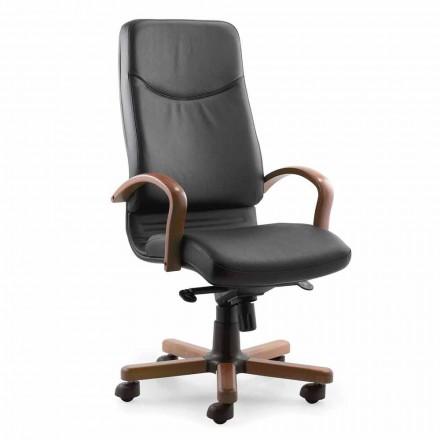 Fotel biurowy kierunkowy z podstawą i podłokietnikiem z drewna bukowego - Savino