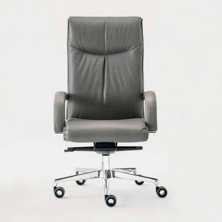 Fotel biurowy obrotowy w skórze i ekoskórze - Oliviero
