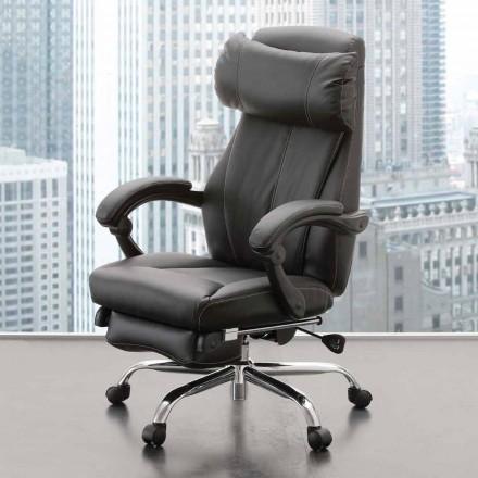 Obrotowy i rozkładany fotel biurowy z czarnej ekoskóry - Nazzareno