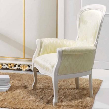 Fotel klasyczny drewniany obity materiałem, model Turner