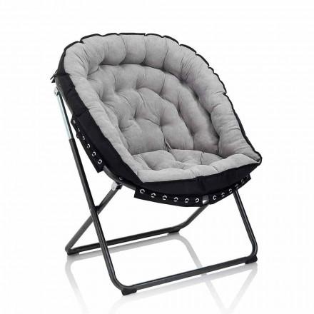 Designerski fotel z jasnoszarego aksamitu z czarną metalową strukturą - Tronia